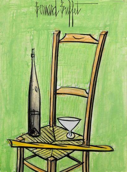 Bernard BUFFET (1928-1999) Nature morte sur la chaise Huile sur isorel, signée en...