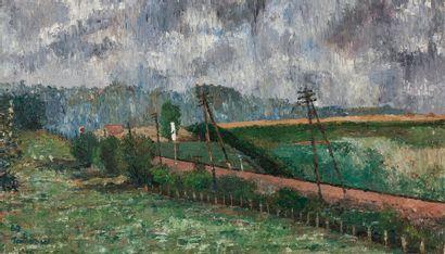 Alfred LOMBARD (1884-1973) Paysage, 1962 Huiile sur panneau, signée et datée en bas...
