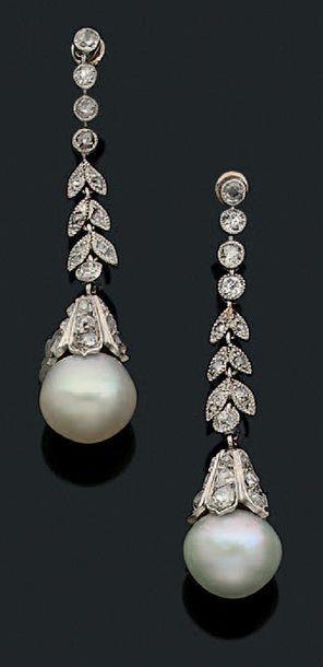 Paire de pendants d'oreilles diamants de...