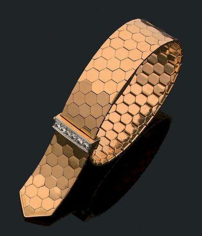 Bracelet «ceinture» Or jaune 18k (750) diamants...