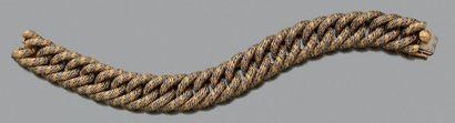 GEORGES LENFANT Bracelet «paillette» deux tons, or 18k (750). Poinçon de maitre....