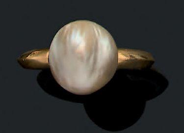 Perle fine Bague perle baroque, or 18k (750)...