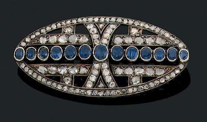 Broche Diamants taillés en rose, saphirs,...