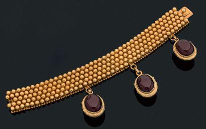 Bracelet Ruban de perles en or jaune 18k...