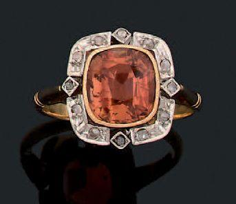 Bague Tourmaline, diamants taillés en rose,...