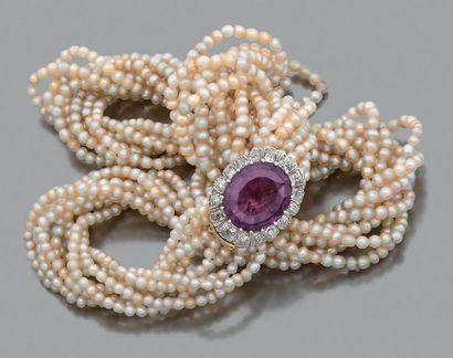 Torsade de perles fines 9 rangs de perles,...
