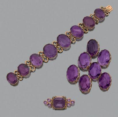 Demi - parure «améthyste» Bracelet et 7 broches,...