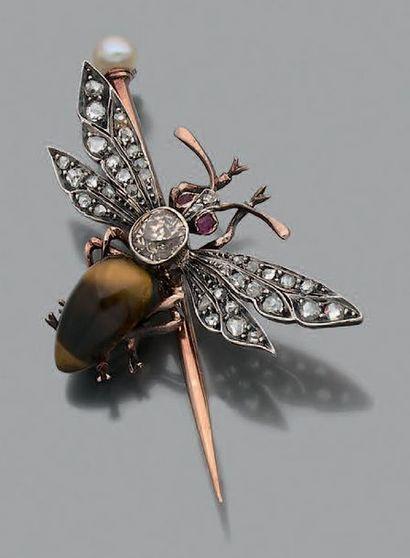Broche «insecte» Or 18k (750) argent ( Epoque...