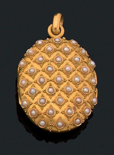 Médaillon Pendentif ovale, perles fines et...