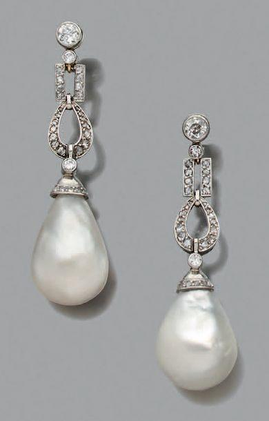 Perles fines Paire de pendants d'oreilles,...