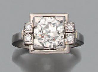 Bague «art déco» Platine (950) diamant de...