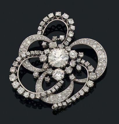 Broche «fleur» Diamant demi taille, diamants...