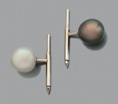 Perles fines Paire de boutons de plastron...