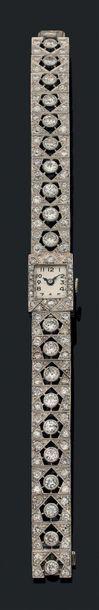 """Montre """"joaillerie"""" Diamants de taille ancienne, platine (950) et or gris 18k (750)..."""