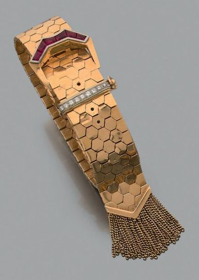 Bracelet «ceinture» Or rose 18k (750) diamants...