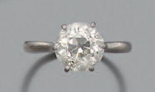 Bague «solitaire» Diamant de taille ancienne, or gris 18k (750). Poids du diamant:...