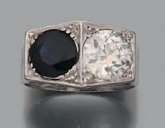 Bague Diamant demi taille et d'un saphir,...
