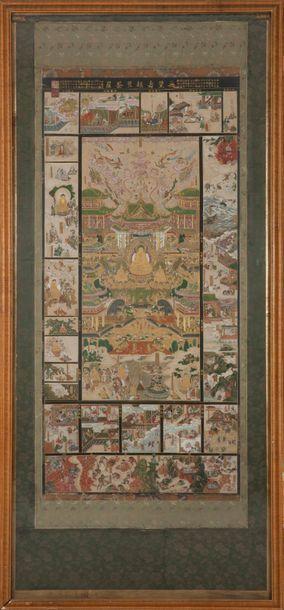 Japon PÉRIODE EDO, 日本 江户时代 XVIIIE SIÈCLE Importante peinture en couleurs et rehauts...