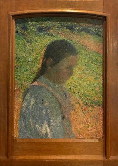 Henri MARTIN (1860-1943) Profil de jeune fille en contre-jour Huile sur toile 56.5...