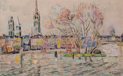 Paul SIGNAC (1863-1935) Rouen, avril 1924 Aquarelle et crayon sur papier, signé,...