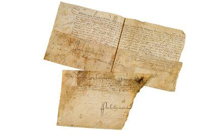 CATHERINE DE MEDICIS (1519-1589) P.S. «Caterine», Paris 21 juin 1575; contresignée...
