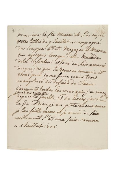 Catherine ii (1729-1796) Impératrice de Russie L.A., 16 juillet 1775, au comte MUNNICH;...