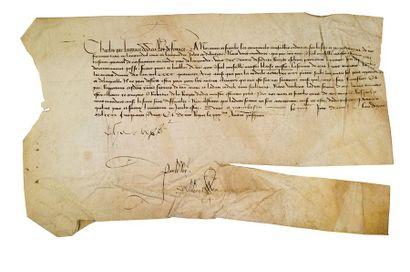 CHARLES VII (1403-1461) Roi de France P.S. «Charles», Montbazon 5 avril 1451 (1452),...