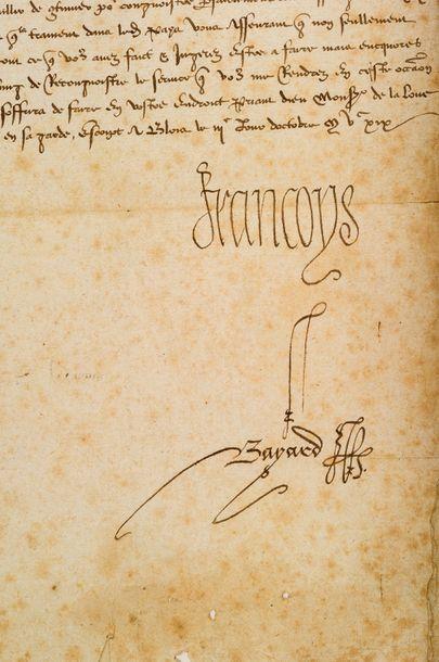 françois ier (1494-1547) Roi de France L.S. «Francoys», Blois 3 octobre 1519, à Pierre...