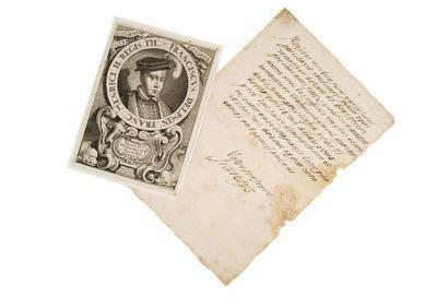 François ii (1544-1560) Roi de France L.A.S. «Francoys», [septembre ? 1560], au Roi...