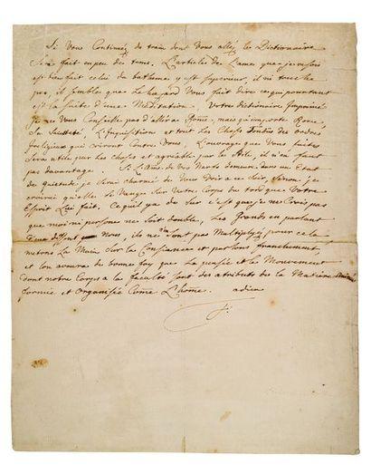 FREDERIC II (1712-1786) Roi de Prusse L.A.S. «F.», [Potsdam octobre 1752, à VOLTAIRE];...