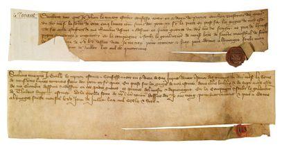 GUERRE DE CENT ANS. 2 CHARTES, Limoges 1376...