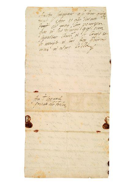 HENRI III (1551-1589) Roi de France L.A. (signée d'une fermesse), [vers 1582], «au...