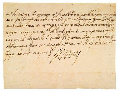 HENRI IV (1553-1610) Roi de France L.A.S. «Henry», devant Amiens 11 juin [1597],...