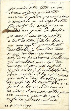 Marie-antoinette (1755-1793) Reine de France. L.A., 4 mars 1790, [au duc Jules de...