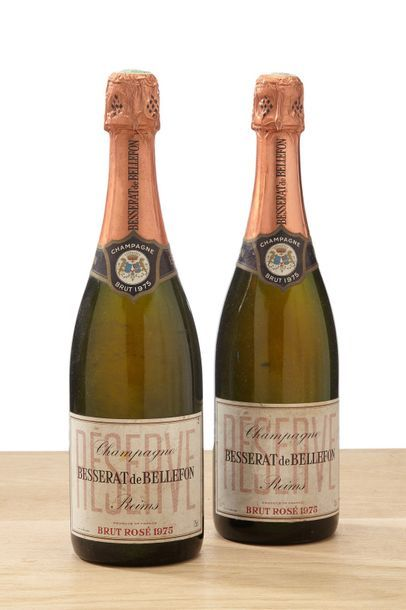 2 bouteilles Champagne Brut Rosé - 1975 -Besserat...