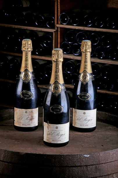 3 Blles Champagne - 1990 - Pol Roger    -...