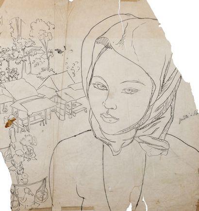 Alix AYMÉ (1894-1989) Jeune femme devant un village Encre sur papier calque 39 x...