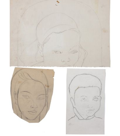 Alix AYMÉ (1894-1989) Portrait de jeune fille et deux études de visage Dessin au...