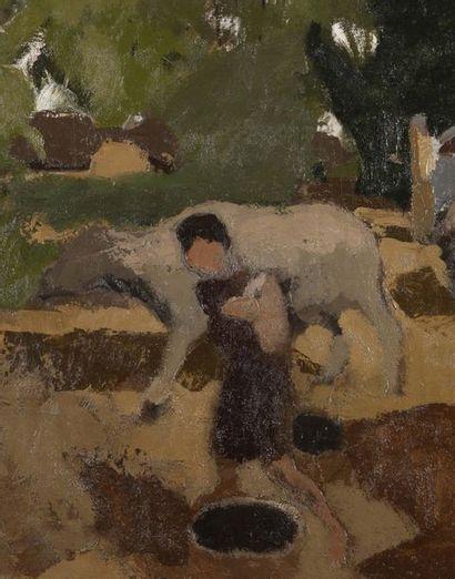 Joseph INGUIMBERTY (1896-1971) Scène de village Huile sur toile, signée en bas à...