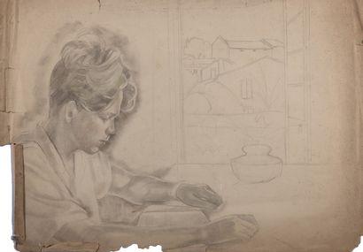 Alix AYMÉ (1894-1989) Jeune garçon à la lecture Crayon et léger réhaut de pastel...