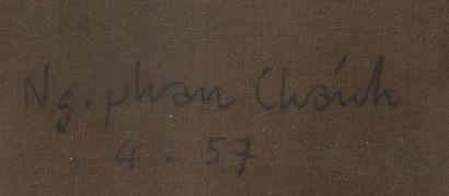 NGUYEN PHAN CHANH (1892-1984) Jeune tonkinoise, 1957 Encre et couleurs sur soie,...