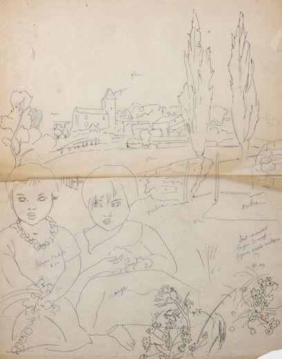 Alix AYMÉ (1894-1989) Deux enfants dans un paysage Encre sur papier calque annoté...
