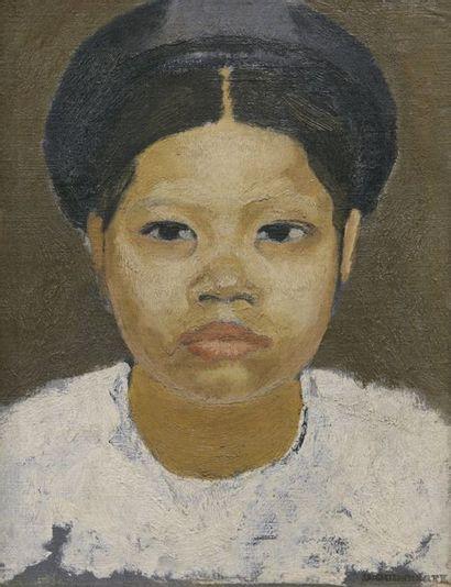 Joseph INGUIMBERTY (1896-1971) Portrait de jeune indochinoise Huile sur toile, marquée...