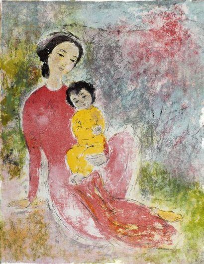 VU CAO DAM (1908-2000) Mère et son enfant, 1969 Epreuve d'artiste,, annotée 'EA'...