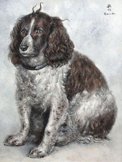 Toshio BANDO (1895-1973) Floss, le chien de M. de Réals Huile sur toile, signée en...