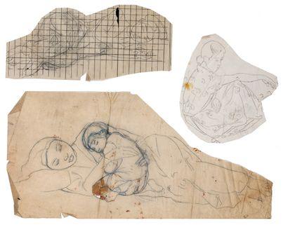Alix AYMÉ (1894-1989) Jeune vietnamienne endormie, Femme et enfant et Femme assise...