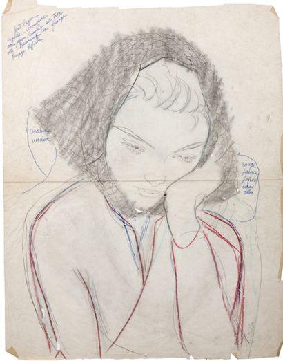 Alix AYMÉ (1894-1989) Portrait de jeune fille pensive, décembre 1955. Crayon de couleur,...