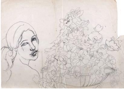 Alix AYMÉ (1894-1989) Femme et corbeille de fleurs Encre et crayon sur papier 39...