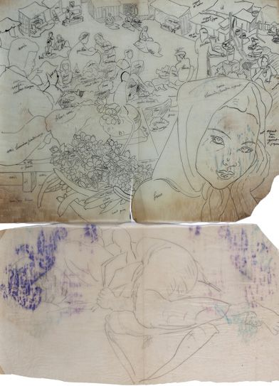 Alix AYMÉ (1894-1989) Scène de village et La lecture Deux dessins à l'encre sur papier...