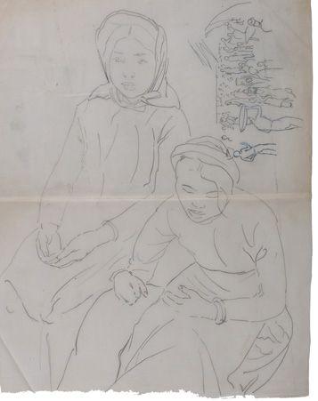 Alix AYMÉ (1894-1989) Femme assise et Scène de marché Encre sur papier calque 49...